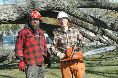 Zachary Lechner, a Stewartville dentist, right, holds the chain saw he used to help clear a black walnut tree at the site where his new dental office will be built starting next spring. David Weinhold, a local arborist, stands at left.