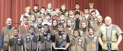 The Stewartville Tiger Trap Shoot team has earned a trophy for placing second in its Minnesota State High School Clay Target League conference for fall 2017. Team members include, front row, from left, Fisher Nagel, Mason Ristau, Zachery Boelman, Dillon Bakken, Joe Jones, Mitchel Gehling and Coach Mark Hill. Second row, from left, Head Coach John Russell, Remington Bamlet, Thomas Root, Alea McCollough, Kimberly Vrieze, Elizabeth Root and Coach Ronn Carlson. Third row, from left, Nick Bain, Hunter Olson, Jackson Helget, Kadhan Dotydavitt and Cameron Argo. Fourth row, from left, Josiah Van Moer, Isaac Harreld, Christian Cooper, Ben Trenary and Grant Lee. Back row, from left, Austin Graff, Derek Golliher, Nathan Kappers, Daniel McCollough and Christopher Remling. Team members missing from the photo include Tor Lunaas, Ethan Van Moer, Tanner Peterson, Gordon Remling, T.J. Swenson, John Colaiano and Nate Bain. Coaches missing from the photo include Chris Stafford, Tom Lofgren, Bryan Malone, Joe Bauman, Marti Oeltjen, Ray Babcock and Dave Bierly.