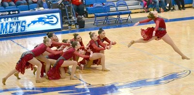 The Stewartville Tiger Dance Team performs a routine at the Hiawatha Valley League conference meet at Kasson-Mantorville in late January. The team, in its first season of existence, finished seventh in the kick division and ninth in jazz at the conference meet. Tessa Dahnert was named All-HVL and Madison Rediske earned honorable mention All-Conference in high kick, while Hannah Swisher was All-HVL and Grace Kittelson took home honorable mention All-Conference honors in jazz. �We had an amazing group of girls,� said Chelsea Lockrem, head coach.