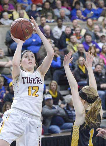 Lily Welch eyes the hoop before connecting on one of her mid-range jumpers during the Section 1AA championship game against Byron.