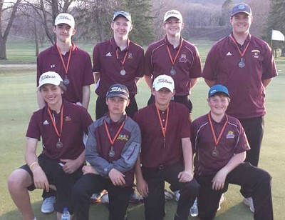 The Stewartville boys golf team poses with its medals after capturing second place at the 30th annual Lake City Invite. Tiger team members are, kneeling, from left, Nick Lechtenberg, Cole Jannsen, Alex Larsen, Nathan Byrne. Standing, from left, Carter Van Tassel, George Gray, Ian Ross, Carter Jannsen.