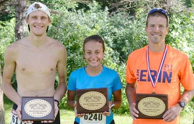 The overall winners of the Stewartville Summerfest Run are, from left, 5-mile male champ James Mathison, 3-mile female champ Kendall Pfrimmer, and 3-mile male champ Jeremy McJunkin. Not pictured, 5-mile female champ Mary Wirtz.
