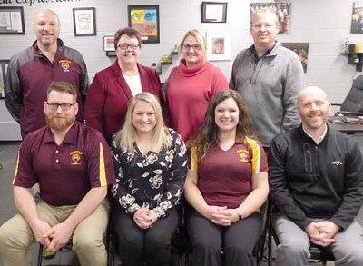 The Stewartville School Board held its organizational meeting for 2020 on Monday evening, Jan. 6. School Board members, and their positions for the coming year, include, front row, from left, Ryan Ravenhorst, treasurer; Nichol O�Neill, vice chair; Rebecca Wortman, chair; and Will Welch, clerk. Back row, from left, Todd Emanuel, director; Belinda Selfors, superintendent; and Lori Miller-Beach and Dean Mikel, directors.